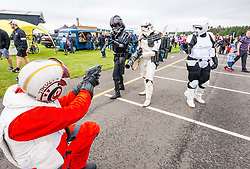 Pictured: Scotland's National Airshow, East Fortune, East Lothian, Scotland, United Kingdom, 27 July 2019 . A packed programme of aircraft old and new planned to take to the skies for the aerial display was marred by poor weather at airfields around the country which meant that many of the promised flights were unable to perform. Stormtroopers entertain the crowd.<br /> Sally Anderson | EdinburghElitemedia.co.uk
