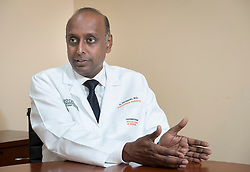 Dr. Govindarajan Narayanan, MD, Professor of Interventional Radiology and the Chairman of the Department of Interventional Radiology at the University of Miami Miller School of Medicine and the University of Miami Health System, speaks during an interview, at the University of Miami Sylvester Comprehensive Cancer Center.