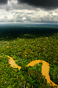 The Amazon rainforest seen from a helicopter.