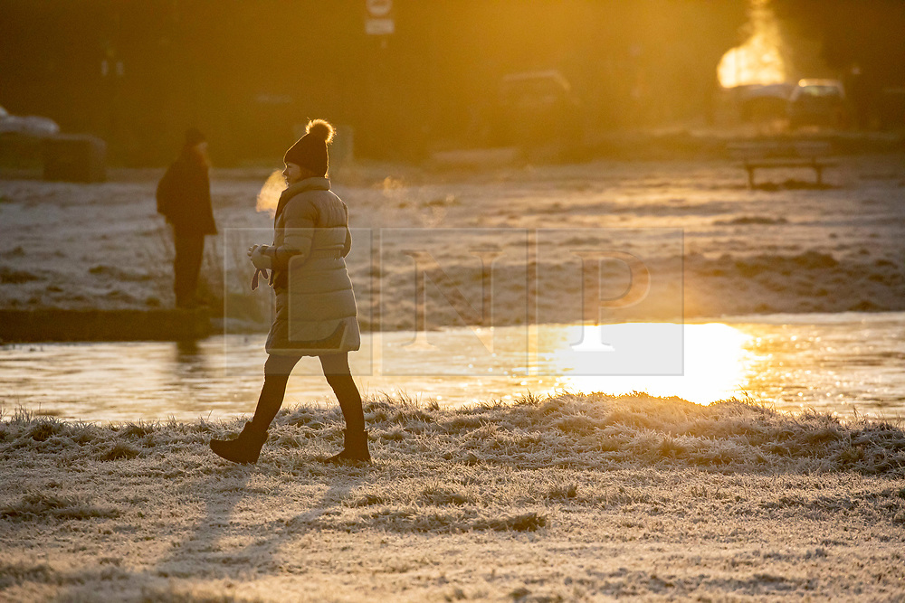 © Licensed to London News Pictures. 19/01/2020. London, UK. A walker enjoys a frosty start to the day in Wimbledon Common as forecasters predict below zero mornings for the week ahead. Photo credit: Alex Lentati/LNP