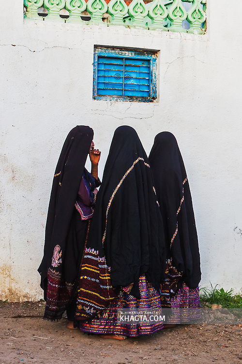 Maldhari women in traditional costumes ready to go for their friends wedding in the village.