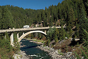 Idaho. Highway 55 the Payette River Scenic Byway. Rainbow Bridge over the North Fork Payette River.