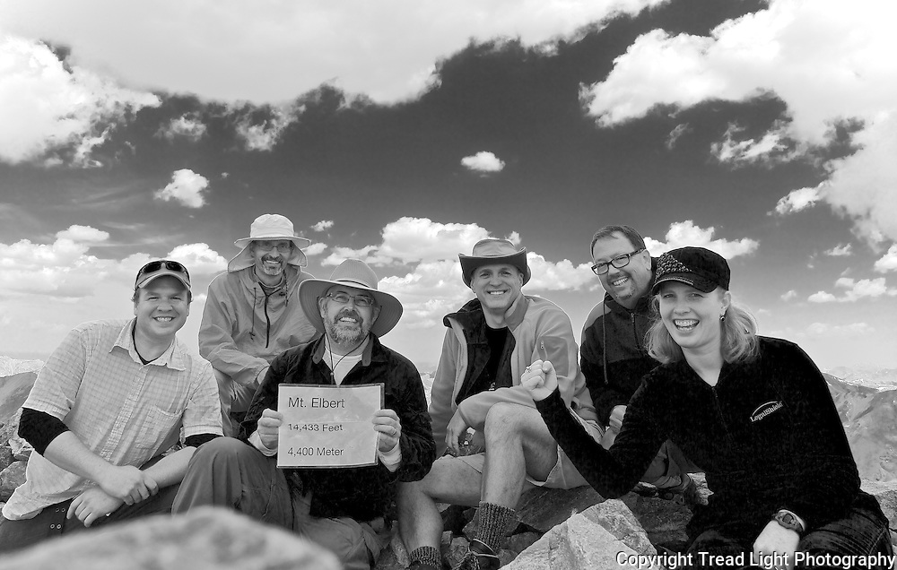 Celebrating the summit of Mt. Elbert, Colorado's tallest mountain.