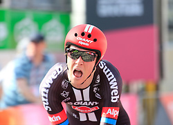 Chad Haga (USA) Team Giant-Alpecin crosses the finish line of Stage 1 of the 2016 Giro d'Italia, an individual time trial of 9.8km around Apeldoorn, The Nethrerlands. 6th May 2016.<br /> Picture: Eoin Clarke | Newsfile<br /> <br /> <br /> All photos usage must carry mandatory copyright credit (© Newsfile | Eoin Clarke)