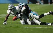 CHARLOTTE, NC - NOVEMBER 7:  An unidentified Carolina Panthers defensive back breaks up a pass intended for wide receiver Jerry Porter #84 of the Oakland Raiders at Bank of America Stadium on November 7, 2004 in Charlotte, North Carolina. The Raiders defeated the Panthers 27-24. ©Paul Anthony Spinelli  *** Local Caption *** Jerry Porter