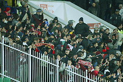 SOFIA, BULGARIA - Wednesday, March 3, 2004: Bulgarian CSKA Sofia fans join the Liverpool supporters during the UEFA Cup 4th Round 2nd Leg match at the Vasil Levski Stadium. (Pic by David Rawcliffe/Propaganda)