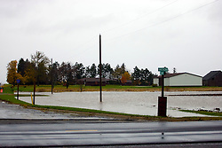 30 October 2009: Water floods a harvested field at the corner of the LeRoy - Lexington blacktop and Route 9.