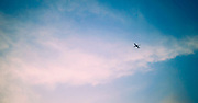 A speck of an aeroplane flies in a cloudy blue sky