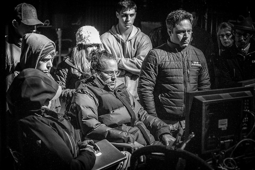 "Behind the scenes with Director Cary Fukunaga (center) watching the monitors on the set of HBO's ""True Detective"""