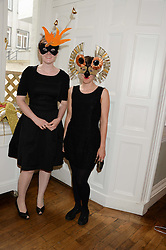 Left to right, SARAH MARSHALL and ELEANOR VALLERINI at the The Animal Ball – Masking Up Moment held at the Quintessentially Ballrooms, 29 Portland Place, London W1 on 10th June 2013.