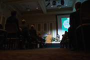 The 2013 recipient of the Distinguished Professor Award, Dr. Tom Carpenter, addresses the achievements of the 2017 Distinguished Professor, Dr. Judith Yaross Lee, at Ohio University's Baker Center Ballroom on Monday, February 20, 2017.