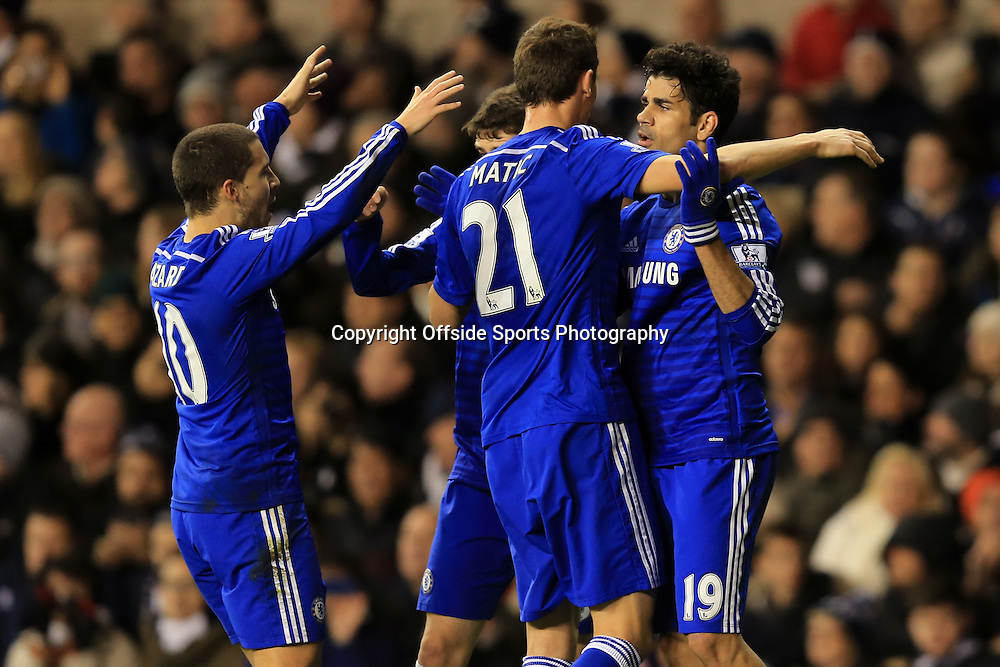 1 January 2015 - Barclays Premier League - Tottenham Hotspur v Chelsea - Chelsea players congratulate Diego Costa after he opens the scoring - Photo: Marc Atkins / Offside.