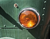 Amber marker or turn signal lamp on an abandoned bus.