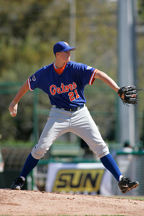 University of Florida pitcher Bryan Augenstein in action during the Gators 4-1 victory over the Miami Hurricanes on February 18, 2006 at Mark Light Field in Coral Gables, Florida.
