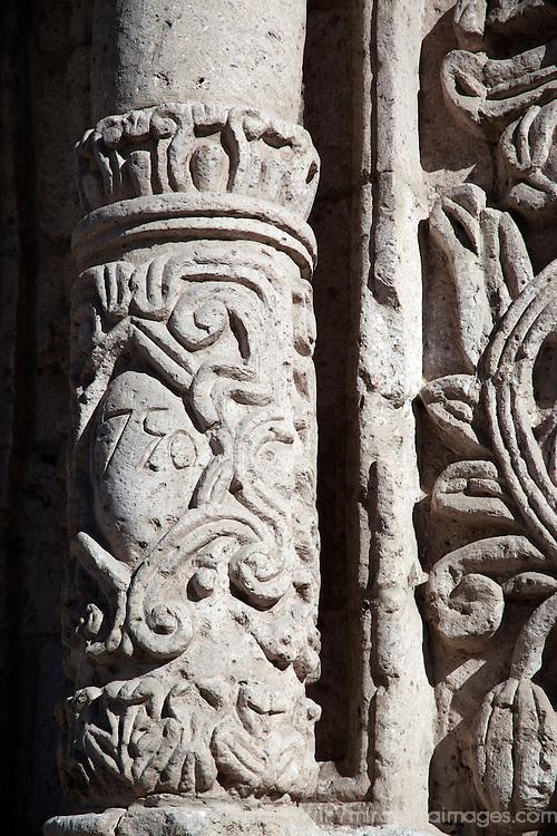 South America, Peru, Arequipa. Carved column of San Juan de Yanahuara Church in Arequipa.