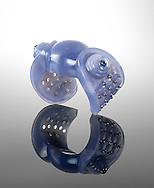Carved blue calcedony cuff with blue sapphires by Suzanne Belperron
