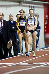 Millrose Games indoor track and field: women's mile, Mary Cain, 16 years old, sets High School American record 4:28, victory lap with winner Sheila Reid