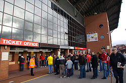 LIVERPOOL, ENGLAND - Saturday, January 26, 2008: Liverpool supporters queue up outside the ticket-office before the FA Cup 4th Round match at Anfield. (Photo by David Rawcliffe/Propaganda)