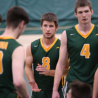 4th year Dylan Smith (8) of the Regina Cougars in action during Men's Volleyball home game on November 18 at Centre for Kinesiology, Health and Sport. Credit: /Arthur Images