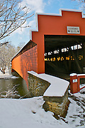 Winter Snow, Berks Co., PA Scene, Wertz Red Bridge, Tulpehocken Creek