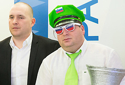 Matej Avanzo of KZS and fan Aleksander during press conference of Basketball Federation of Slovenia - KZS when signing a contract with Tourist agency Kompas for selling Eurobasket 2015 tickets, on March 2, 2015 in Ljubljana, Slovenia. Photo by Vid Ponikvar / Sportida