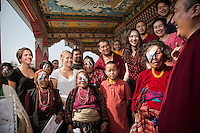 Ruth and Rosa Hollows with patients, monks and international doctors after patches have been taken off patients at Pullarhari Monestry for the outreach micro surgical eye camp held on the outsirks of the Kathmandu Valley 2014.