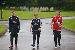CARDIFF, WALES - Friday, August 19, 2016: Wales' Rhianne Skinner, Claire O'Sullivan and Bethan Lloyd during a pre-match walk at the Vale Resort ahead of the international friendly match against Republic of Ireland. (Pic by Laura Malkin/Propaganda)