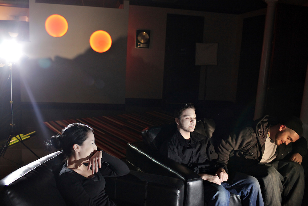 EbGb, his wife, Chantel, left, and friend, Chris Brenon, make a video for Eb's song, 3-2-1 at Orange Glow Music, Inc. The video required acting, something that was new for the three. While Brenon managed to keep a straight face, Eb and Chantel got the giggles.