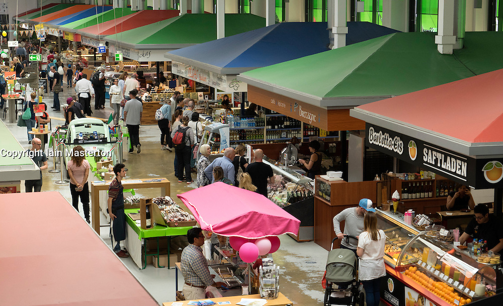 Interior of Marheineke Markthale market on Bergmannstrasse in Kreuzberg Berlin Germany