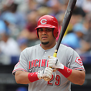 Brayan Pena, Cincinnati Reds, batting during the New York Mets Vs Cincinnati Reds MLB regular season baseball game at Citi Field, Queens, New York. USA. 28th June 2015. Photo Tim Clayton