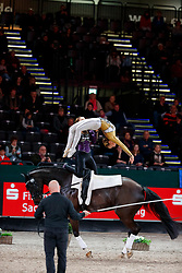 MARUCCIO Zoe (SUI), SCHMID Syra (SUI), Latino v. Forst CH<br /> Leipzig - Partner Pferd 2018   <br /> FEI World Cup Vaulting Pas de Deux 1. Umlauf <br /> © www.sportfotos-lafrentz.de/Stefan Lafrentz