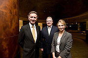 Lord Green of Hurstpierpoint, UK Minister for Trade and Investment, Philip Gibb, president of the British Chamber of Commerce in Japan and Lori Henderson, executive-director of the  BCCJ, pose for a photo after a BCCJ lunch event at the ANA Intercontinental Hotel in Tokyo, Japan on Monday 31 Oct. 2011.  Photographer: Robert Gilhooly