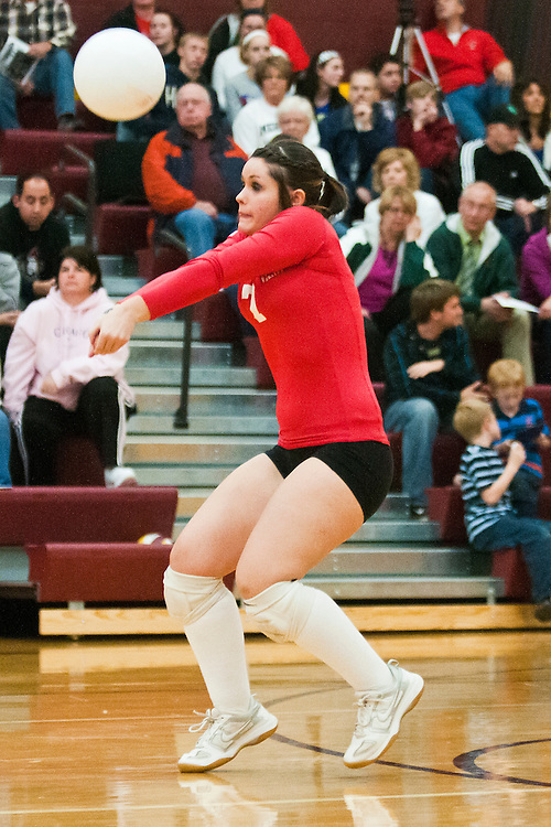 Lathan Goumas | The Bay City Times..Alexis Nesto of Marlette High School hits the ball during a regional semifinal volleyball match against Valley Lutheran High School at Reese High School in Reese, MI on Tuesday November 8, 2011.
