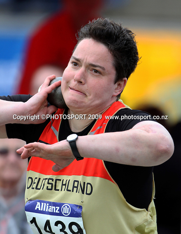 Germany's Birgit Kober in the womens shot put F32/33/34 final. Day two. IPC Athletics World Championship, 23 January 2011 QE11 Stadium, Christchurch. New Zealand. Photo: John Cowpland / photosport.co.nz