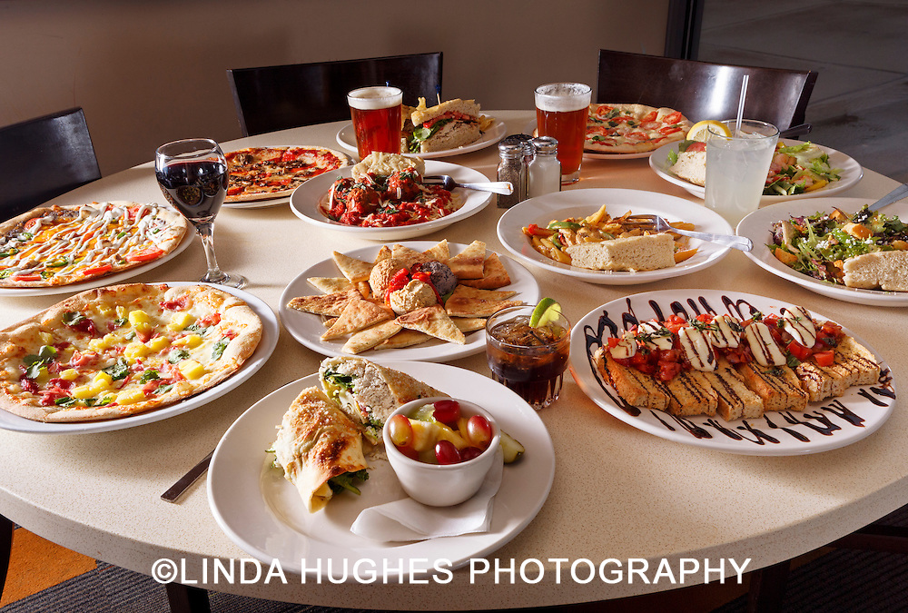 Variety of food and drink to include pizza, appetizers,beer and wine