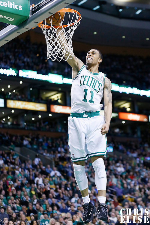 08 March 2013: Boston Celtics shooting guard Courtney Lee (11) goes for the dunk during the Boston Celtics 107-102 OT victory over the Atlanta Hawks at the TD Garden, Boston, Massachusetts, USA.