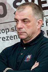 Matjaz Kopitar, head coach of Slovenia, at HZS Press Conference about Slovenian National Team for IIHF World Championship in Bratislava, on April 4, 2011 at Dvorana Podmezaklja, Jesenice, Slovenia. (Photo By Matic Klansek Velej / Sportida.com)