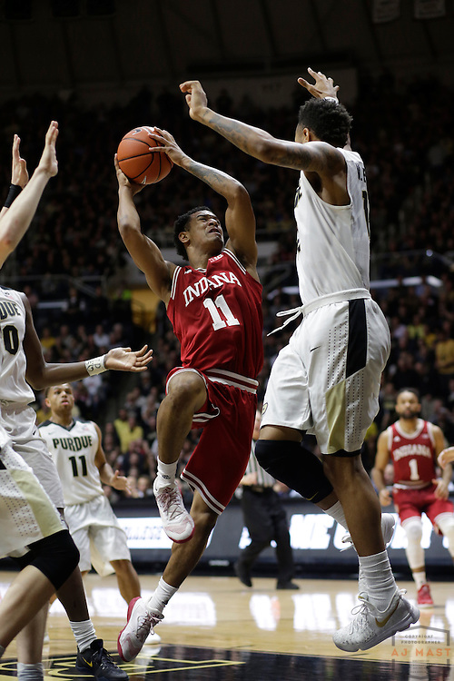 Indiana guard Devonte Green (11) in action as Purdue played Indiana in an NCCA college basketball game in West Lafayette, Ind., Tuesday, Feb. 28, 2017. (Photo by AJ Mast)