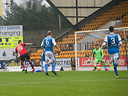 30th December 2017, McDiarmid Park, Perth, Scotland; Scottish Premiership football, St Johnstone versus Dundee; Dundee's Marcus Haber scores for 1-0