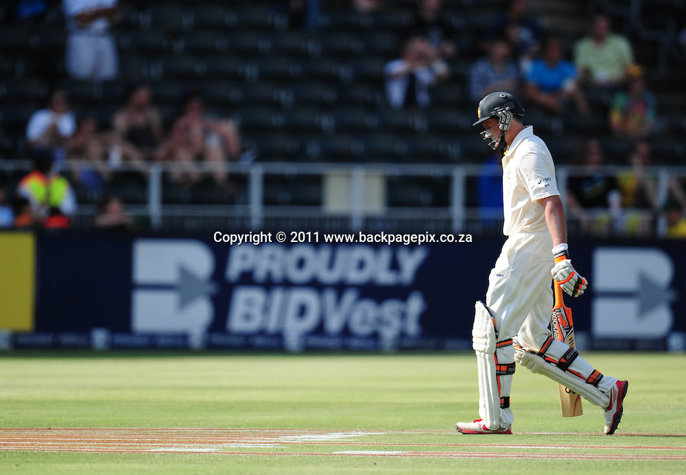 Michael Hussey of Australia after being bowled out by Dale Steyn of South Africa <br /> &copy; Barry Aldworth/Backpagepix