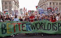 Protest demonstration in central London against occupation of Iraq October 2005 and Middle East policy.