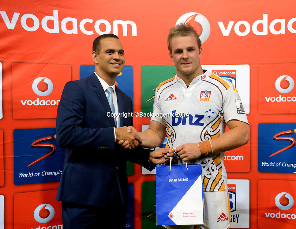 Sam Cane of the Chiefs awarded man of the match during the 2015 Super Rugby match between Sharks and Chiefs at the Kings Park Stadium in Durban on the 21st  of March 2015<br /> <br /> &copy;Sabelo Mngoma/BackpagePix