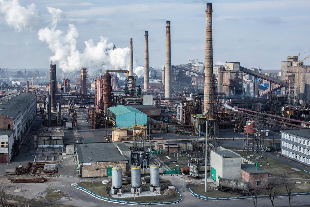 AVDIIVKA, UKRAINE - MARCH 18, 2015: The Avdiivka Coke and Steel plant in Avdiivka, Ukraine. CREDIT: Brendan Hoffman for The New York Times