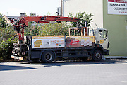 Large utility truck with pickup crane. Rawa Mazowiecka Central Poland