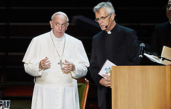October 31, 2016 - Malm√, Sweden - Pope Francis,  and  and Rev. Martin Junge, General Secretary of LWF are seen on stage during the 'Together in Hope' event at Malmo Arena on October 31, 2016 in Malmo, Sweden. The Pope is on 2 days visit attending Catholic-Lutheran Commemoration in Lund and Malmo.  (Credit Image: © Aftonbladet/IBL via ZUMA Wire)