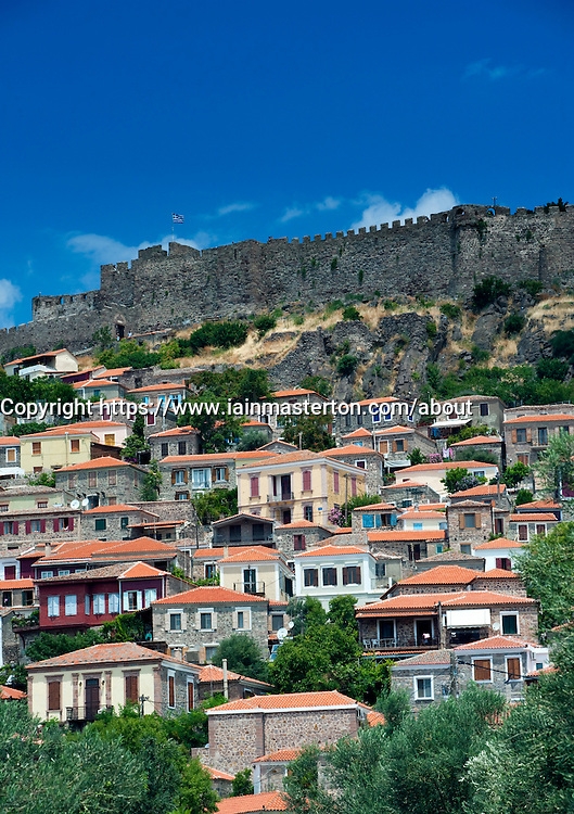 Castle towering above town of Molyvos on Lesvos Island in Greece