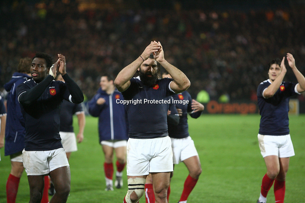 Rugby : France / Fidji - Test Match Tournee d Automne - 13.11.2010 - Fulgence Ouedraogo et Sebastien Chabal (France) *** Local Caption *** 00042416
