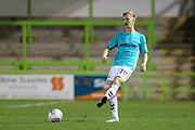 Forest Green Rovers Nathan McGinley(19) passes the ball forward during the EFL Trophy match between Forest Green Rovers and Cheltenham Town at the New Lawn, Forest Green, United Kingdom on 4 September 2018.