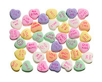 NECCO Sweethearts Conversation Hearts in a square photographed on a white background