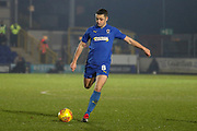 AFC Wimbledon midfielder Anthony Hartigan (8) passing the ball during the EFL Sky Bet League 1 match between AFC Wimbledon and Fleetwood Town at the Cherry Red Records Stadium, Kingston, England on 22 January 2019.